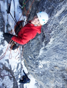 Caroline George on the North Face of the Eiger
